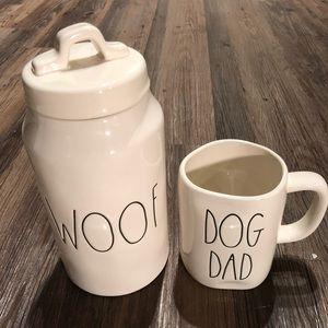 Rae Dunn WOOF Treat Canister DOG DAD Coffee Mug